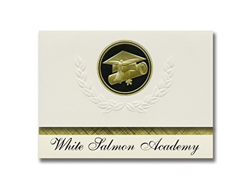 Signature Announcements White Salmon Academy (White Salmon, WA) Graduation Announcements, Presidential style, Elite package of 25 Cap & Diploma Seal. Black & (White Gold Salmon)