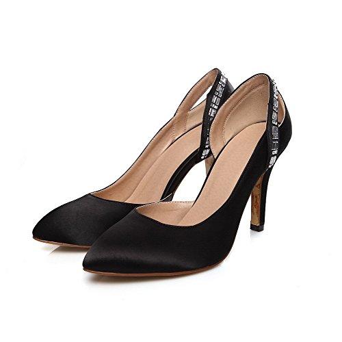 VogueZone009 Damen PU Leder Stiletto Spitz Zehe Rein Ziehen auf Pumps Schuhe Schwarz