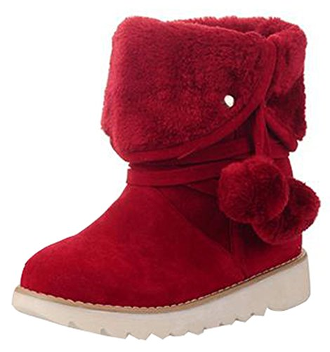 IDIFU Womens Warm Folded Faux Fur Lined Flat Ankle High Boots Slip On Winter Booties With Poms Red XOZBieAHW4