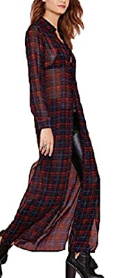 Lingswallow Womens Long Sleeve Red plaid Shirt Chiffon Maxi Dresses Cardigans