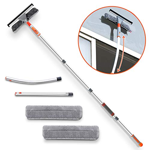 Squeegee Window Cleaner,Baban 2 in 1 Window Cleaning Tool with Elbow and Straight Extension Pole, 61″ Telescopic Window Washing Equipment with Bendable Head for Car Indoor Outdoor High Windows (2 Pad)