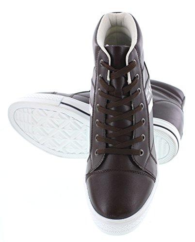 Calden - K107223 - 3 Pulgadas Taller - Zapatillas Elevadoras De Altura Creciente - Zapatillas De Moda De Cuero Marrón Oscuro
