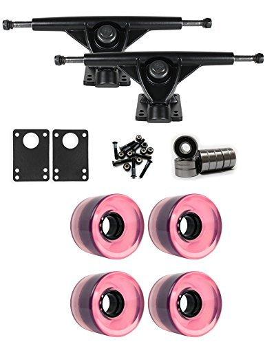 RKPブラックLongboard Trucksホイールパッケージ60 mm x 44 mm 83 a 7424 Cピンククリア [並行輸入品]   B078WV81P4