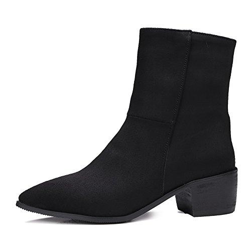 AdeeSu Ladies Fashion Riding Boots Pull-On Kitten-Heels Imitated Suede Boots Black pe58GB9