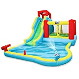 Deluxe Inflatable Water Slide Park - Heavy-Duty Nylon Bouncy Station for Outdoor Fun - Climbing Wall, Slide, Bouncer & Splash Pool - Easy to Set Up & Inflate with Included Air Pump & Carrying Case