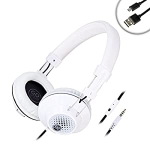 GOgroove AudioLUX White Headphones w/ Microphone - Noise Isolating Ear Cups , Braided Cable , Multi-Function Button , Ultra Padded Headband , Adjustable Design - 3.5mm AUX Input Perfect for Travel