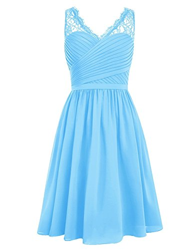 Short Chiffon Prom Neck BessDress Ruched Homecoming BD141 Dress V Bridesmaid Blue Dress wZxqdfTn