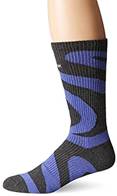 Calvin Klein Men's Modern Bold Curve Crew Socks, Grey Heather, 7-12 Shoe Size