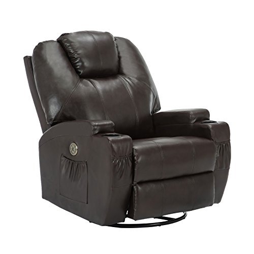 Mecor Massage Recliner Chair with Cup Holder, Electric Heated 360 Swivel Rocker Chair for Eldelry, Living Room Lounge Sofa, Headrest Adjustable Brown
