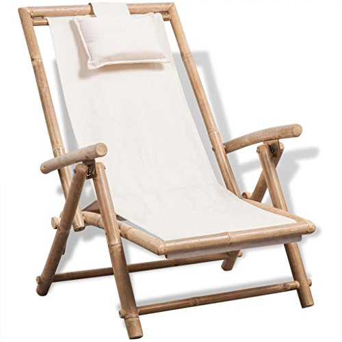FairDeco Outdoor Patio Garden Wood Sun Chaise Lounge Chair, Bamboo Deck Chair with Canvas Pillow