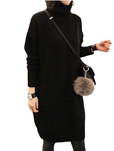 Confortables Femmes Vogue Taille Plus Pull À Col Roulé En Tricot Noir Mi Robe Épaisse
