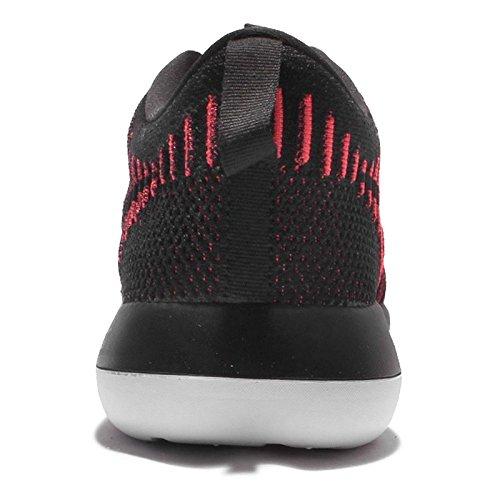 Nike Hommes Roshe Deux Chaussures De Course Flyknit Noir / Noir / Brillant Cramoisi