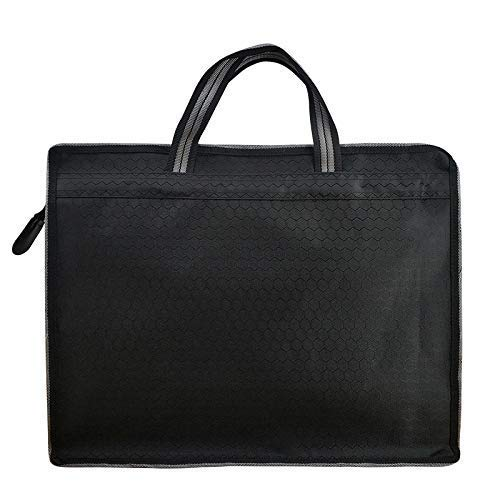 Business Briefcase Zipper Bag - Document File Laptop Briefcase, Waterproof, Lightweight Travel for Notebook, Portfolio, Files, Books, Home, School, Office, Meetings (B4 Size) (Black)