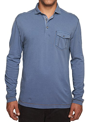 TADD Men's Eddie Long Sleeve Pique Polo with Pocket, Denim, XL