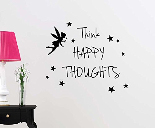 Think Happy thoughts fairy magical playroom sticker nursery vinyl saying lettering wall art inspirational sign wall quote decor by Simple Expressions Arts