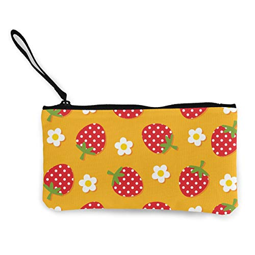 Oomato Canvas Coin Purse Sweet Strawberry Cosmetic Makeup Storage Wallet Clutch Purse Pencil Bag]()