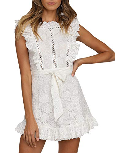 Fashiomo Women's Lace Floral Hollow Out Mini Dress Ruffle Tie Waist Summer Dress White,L