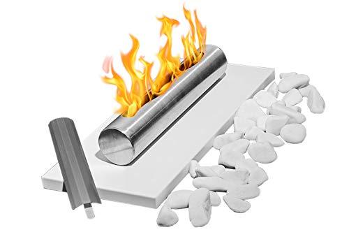 Dekorative Steine Grundset + dekorative Steine + Bio-Brennstoff Bio-Ethanol-Kamin Eco Tischplatte weiß Bio-Kamin Heizung Brenner Feuer Tisch Tragbare 1 Liter BIO-Kraftstoff GML