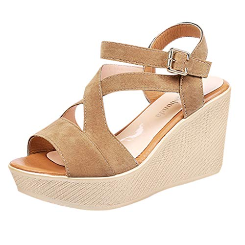 Women Sandals, LONGDAY Summer Wedges Shoes Peep Toe Non-Slip Platform Buckle Strap Criss Cross Comfort High Heel Beige]()