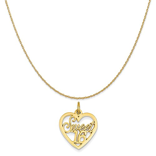 14k Yellow Gold Sweet 16 Charm on a 14K Yellow Gold Rope Chain Necklace, 18