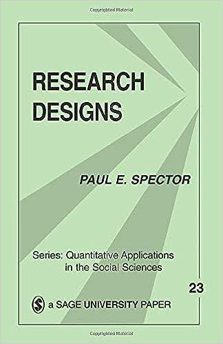 Research Designs Quantitative Applications In The Social Sciences Paul E Spector 9780803917095 Amazon Com Books