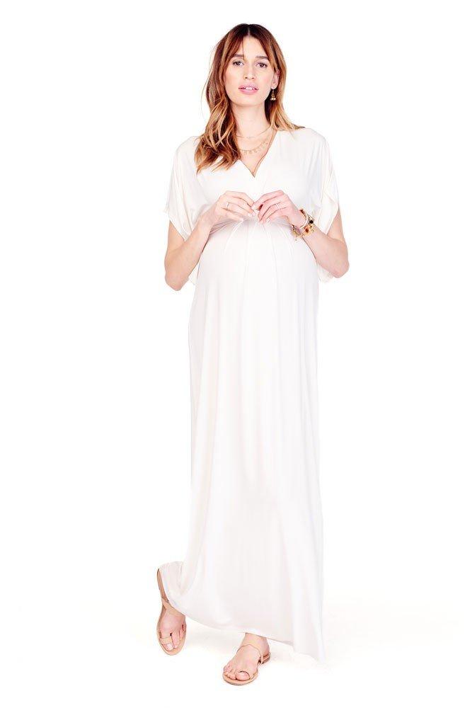 Ingrid & Isabel Kimono Maxi Maternity Dress - XL - Ivory