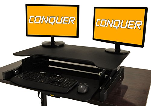 Desktop Tabletop Standing Desk Adjustable Height Sit to Stand Ergonomic Workstation by Conquer
