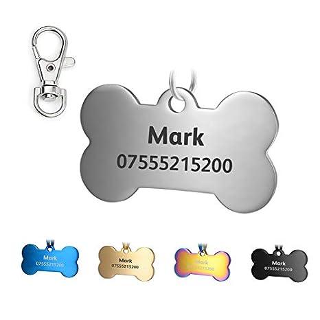 KSZ Etiquetas de identificación para Mascotas de Acero Inoxidable, Etiquetas Personalizadas para Perros y Gatos. Grabado Frontal y Trasero. Múltiples ...