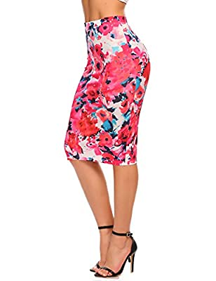 Chigant Women's High Waist Floral Print Office Midi Pencil Skirt