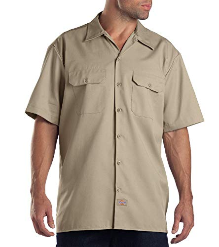 Dickies Men's Big and Tall Short Sleeve Work Shirt, Khaki, Extra -
