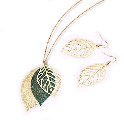 NVENF Leaf Earrings and Long Necklaces Set for Women Boho Gold-Tone Multi Tiered Leaves Delicate Chain Dangle Necklace SimpleLeaf Statement Dangling Earrings (B Gold & Green)