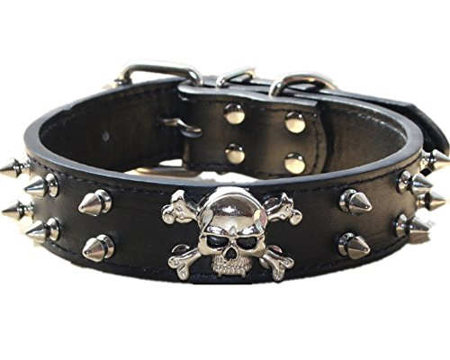 haoyueer Spiked Leather Dog Collar - 2 Rows Bullet Rivets Studded PU Leather - Cool Skull Pet Accessories for Medium and Large Dogs(Black,L) ()