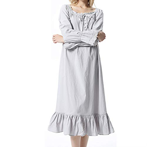 K-Flame Women's Nightgown 100% Cotton Vintage Victorian Style Long Sleeve Night Dress Girl Trumpet Sleeve Cotton Sleepwear,Gray,XL