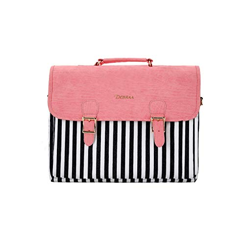 Dcbraa 15.6 Inch Laptop Bag - for Women Fashion PU Leather Canvas Shoulder Messenger Cute Laptop Case Briefcase - for All 14-15.6 Inch Laptop Computer (Pink) ...