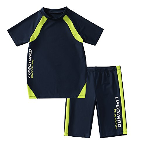 KID1234 Swimsuits for Boys - 2 Piece Set Boys Swimsuit,Wetsuit for Kids 4-12 Years (Navy, 6)