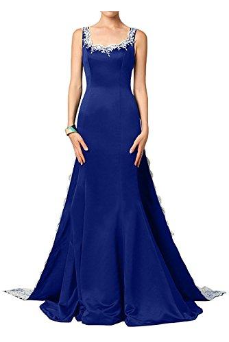 Les Applqiues De Broderie De Drehouse Femmes Sirène Robes De Soirée Dos Nu Robes De Bal Avec Le Train Bleu Royal