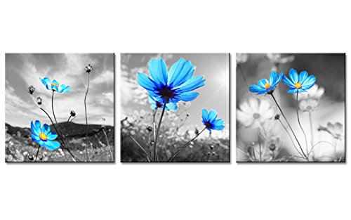 Modern Art Decor Flowers Prints Black and White Sky Blue Gesar Flower Abstract Painting Still Life Canvas Wall Art for Home Decor (40x40cmx3pcs)
