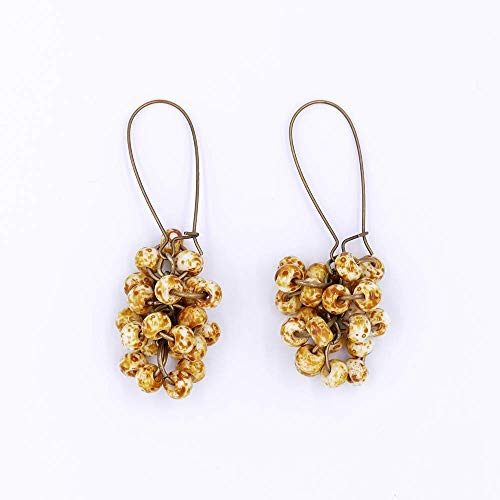 Caramel Corn Cluster Earrings Speckled Tan Brown White Threader Antique Bronze