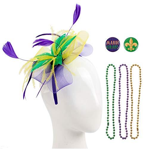 Felizhouse Sinamay Fascinator Hats Headband Tea Party Cocktail Headwear Pillbox Hat Kentucky Derby Wedding Headpiece (#1 Mardi Gras Beads Feather Mesh) -