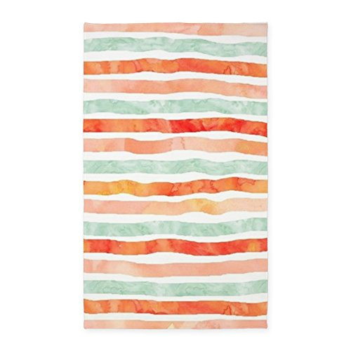 - CafePress Watercolor Lines Pattern Peach Orange Mint Decorative Area Rug, Fabric Throw Rug