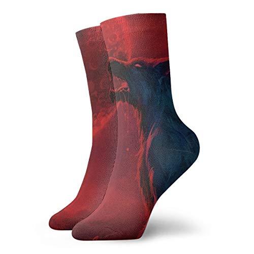 CKDKE2 Holiday Werewolf Bloodmoon Ankle Socks Crazy Short Crew Socks Quarter Socks for Sports
