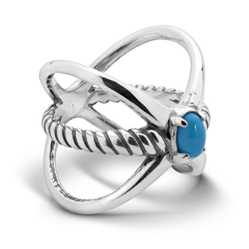 925 Silver & Turquoise Rope Ring - Size 7