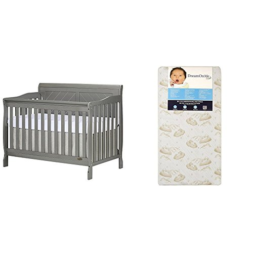 Dream On Me Ashton Full Panel Convertible 5-in-1 Crib with Dream On Me Spring Crib and Toddler Bed Mattress, Twilight