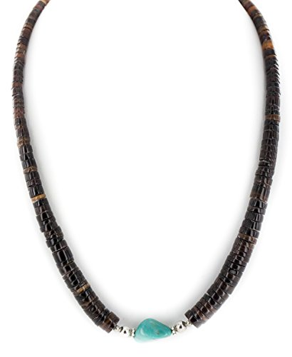 $250 Retail Tag Authentic Silver Navajo Natural Graduated Heishi and Turquoise Native American - Turquoise Navajo Necklace