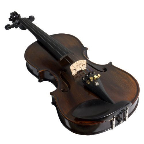 Mendini 4/4 MV500+92D Flamed 1-Piece Back Solid Wood Violin with Case,...