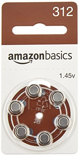 AmazonBasics Hearing Aid Batteries A312, 60 Pack by AmazonBasics