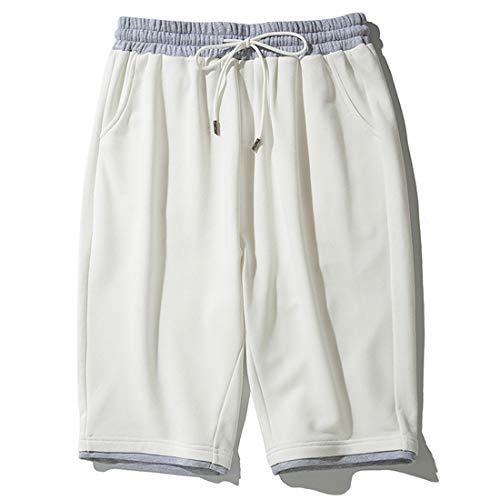STAZSX Apparel Pantalones de chándal Casuales de Verano Sueltos más Fertilizantes para Aumentar los Pantalones Blancos Blanco