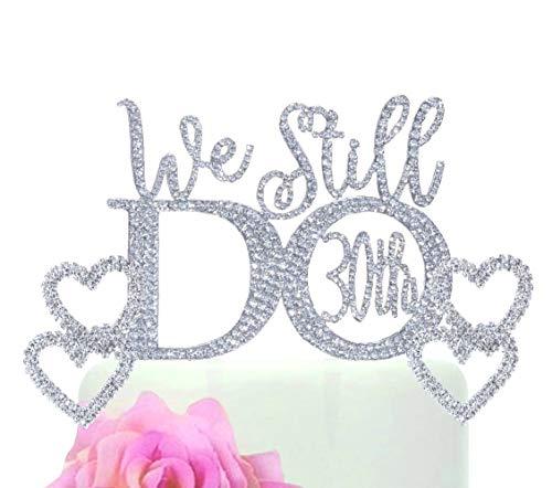 Monogram Cake Jewelry (30th Anniversary cake topper - Monogram rhinestone silhouette w/crystals