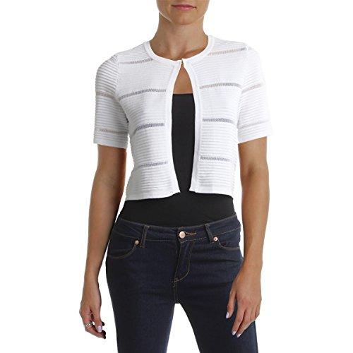 Calvin Klein Womens Petites Striped Crew Neck Cardigan Sweater White PM