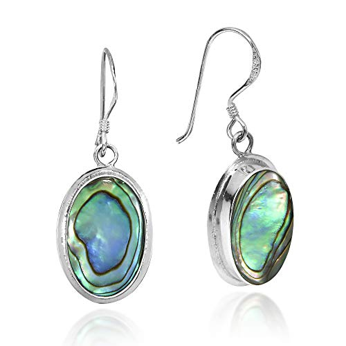 (Simply Elegant Oval Abalone Shell Inlay on .925 Sterling Silver Dangle Earrings)